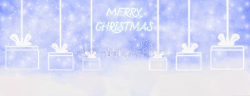 Зима веселого рождества на открытом воздухе с падая снежинками, и вид иллюстрация вектора