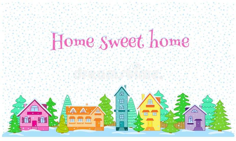 Зима в селе бесплатная иллюстрация