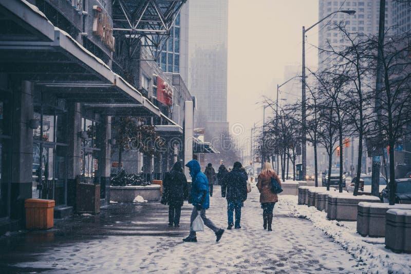 Зима в центре города toronto стоковая фотография rf
