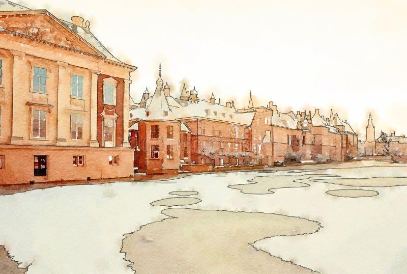 Зима в The Hague иллюстрация штока