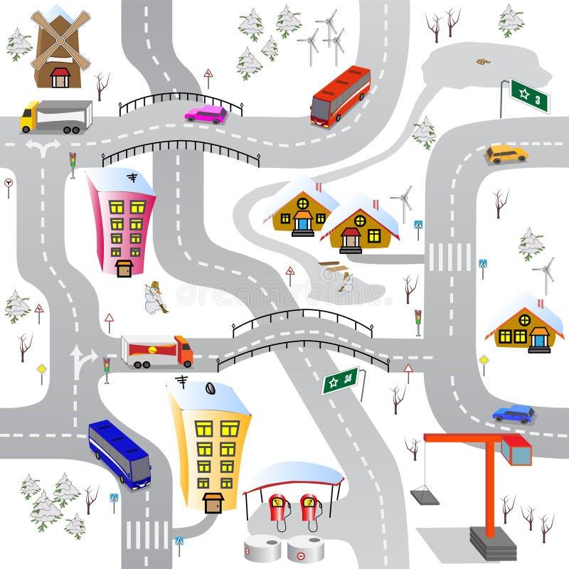 зима города бесплатная иллюстрация