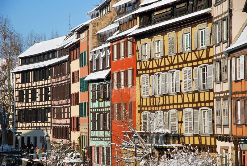 зима городка страсбурга стоковое изображение
