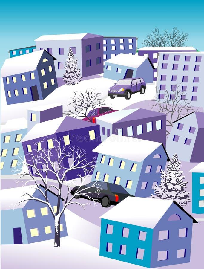 зима городка иллюстрация штока