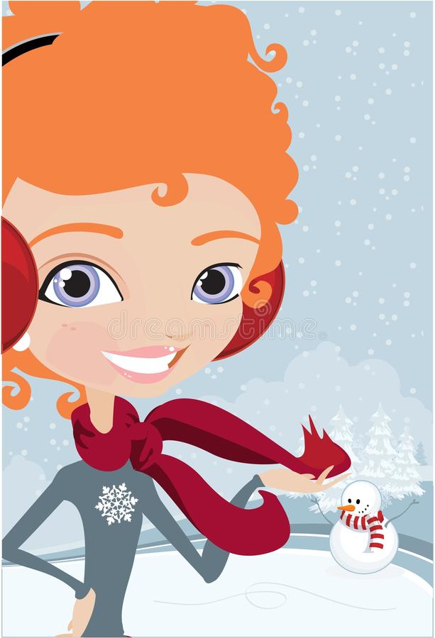 зима девушки бесплатная иллюстрация