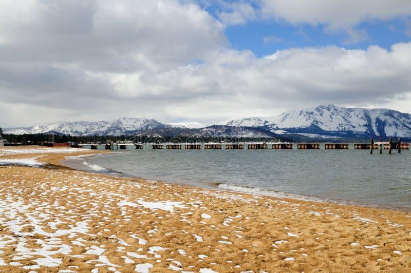 зима Лаке Таюое пляжа стоковое фото