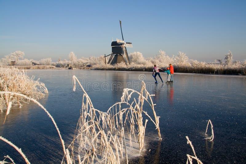 зима ландшафта 2 голландецов стоковое фото