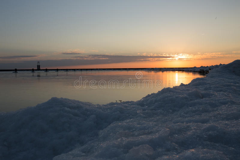 зима Мичигана озера стоковое фото