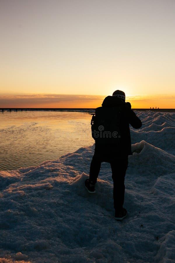 зима Мичигана озера стоковая фотография