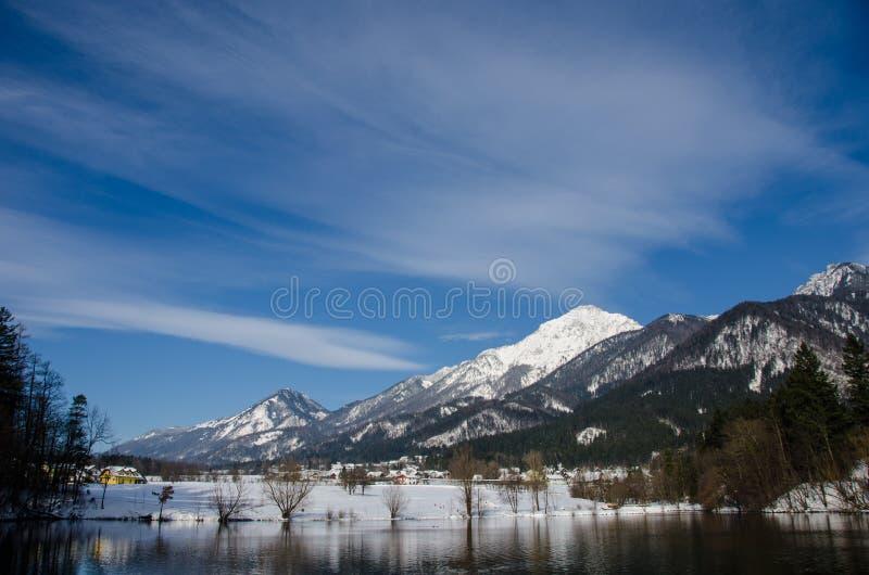 Зима на озере Crnava около Preddvor в Словении стоковые фотографии rf
