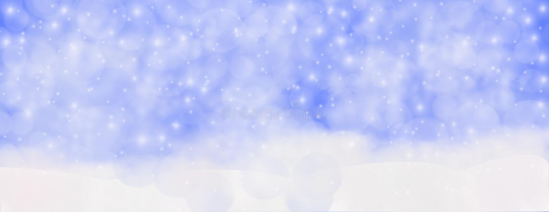Зима на открытом воздухе с падая снежинками, панорамное hor знамени сети стоковые фото