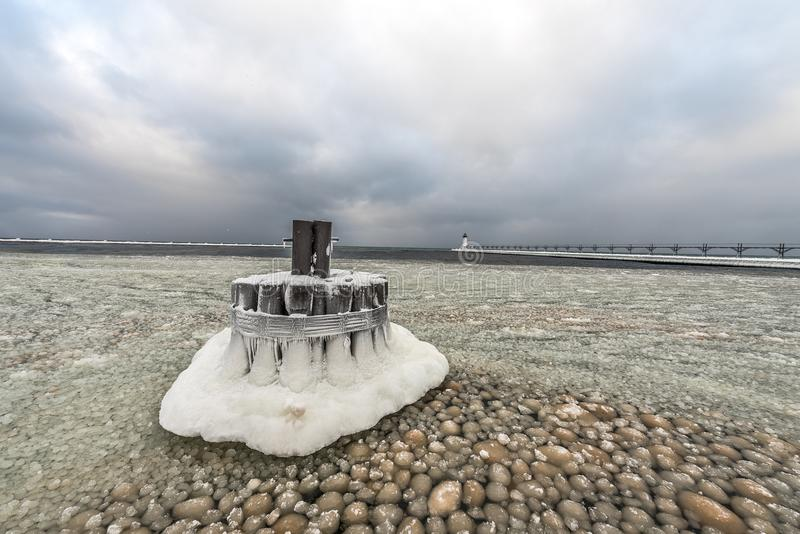 Зима на свете Manistee стоковые изображения rf