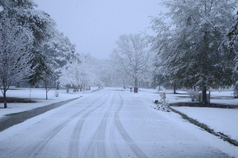 Зима на юге Луизианы: Редко видимая снежно-покрытая улица соседства стоковые фотографии rf