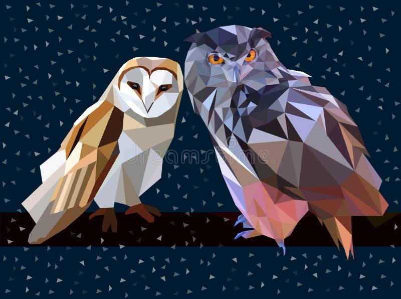 Зима ночи сыча низко поли бесплатная иллюстрация