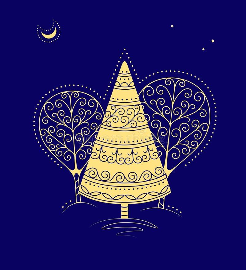 зима ночи s иллюстрация штока