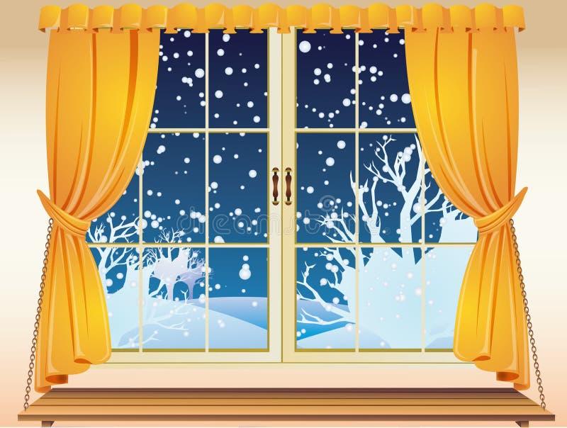 зима окна взгляда иллюстрация вектора