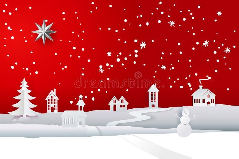 Зима отрезка белой бумаги на красном фоне иллюстрация штока
