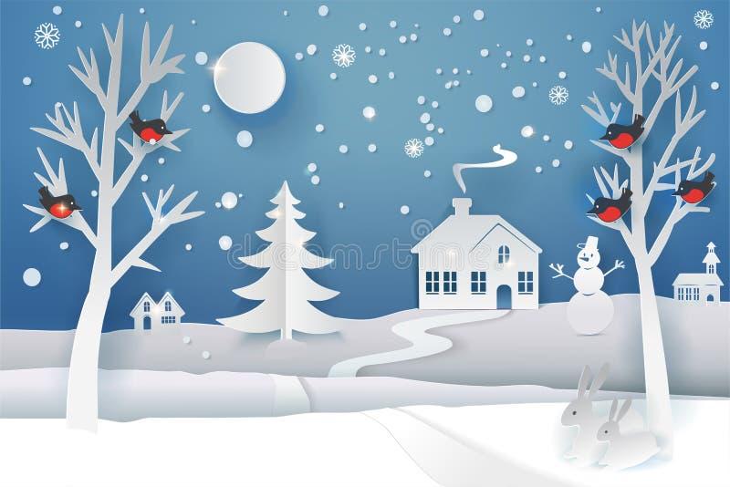 Зима отрезка бумаги иллюстрация штока
