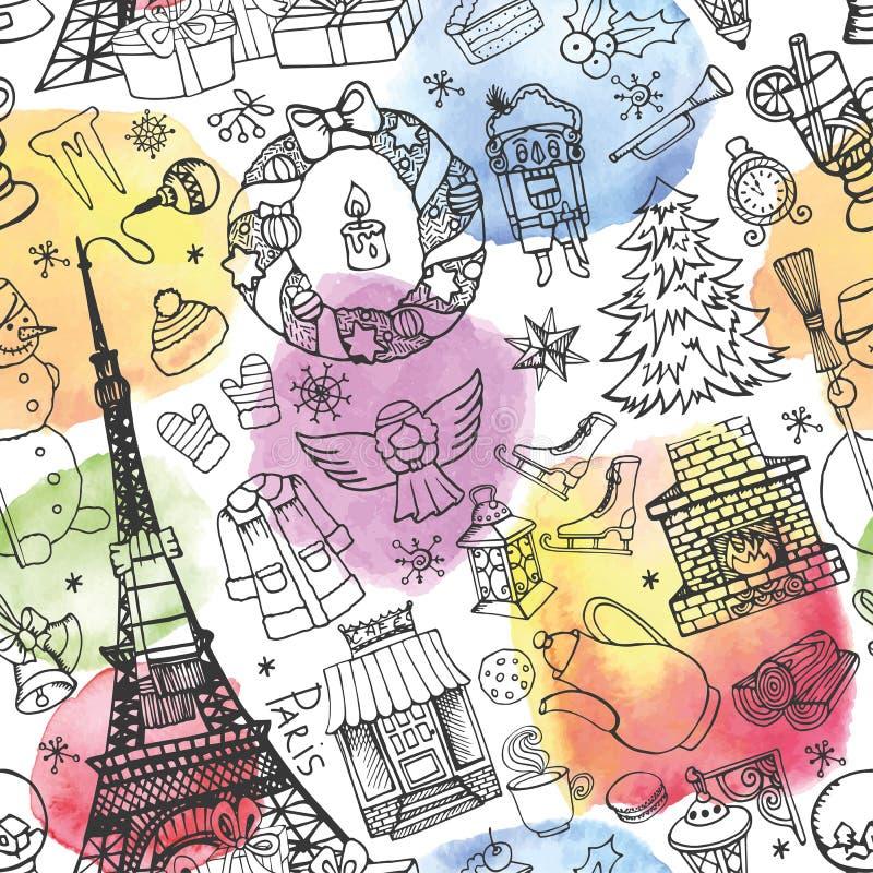 Зима Парижа, картина рождества безшовная акварель иллюстрация штока