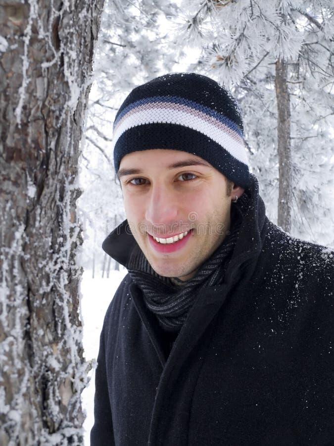 зима парка человека сь стоковая фотография rf