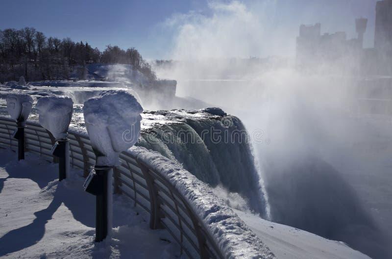Зима падения Ниагары обозревает стоковое изображение