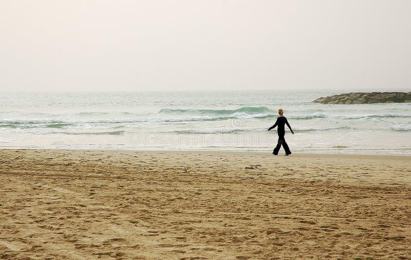 зима пляжа гуляя стоковые фото