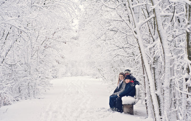 зима потехи семьи стоковое фото
