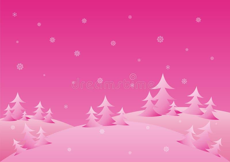 зима предпосылки розовая иллюстрация вектора