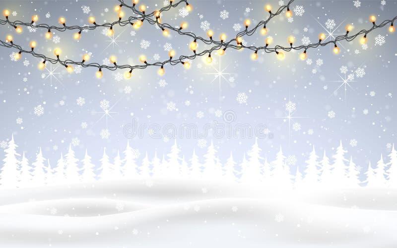 Зима приходит Рождество, снежный ландшафт полесья ночи с падая снегом, ели, светлая гирлянда, снежинки на зима и новое иллюстрация вектора