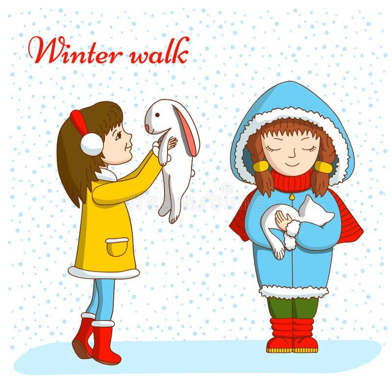 зима прогулки сынка мумии зеленой куртки отца пальто голубой крышки берета красная идя снег иллюстрация вектора