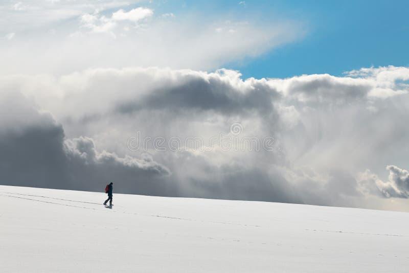 зима прогулки сынка мумии зеленой куртки отца пальто голубой крышки берета красная идя снег стоковое изображение rf