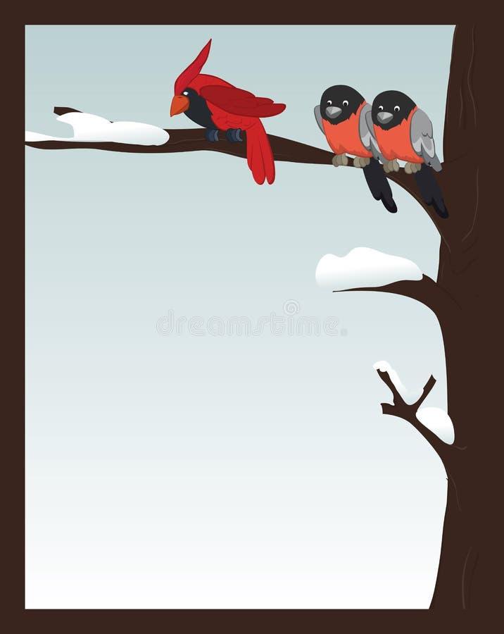 зима пущи птиц иллюстрация вектора