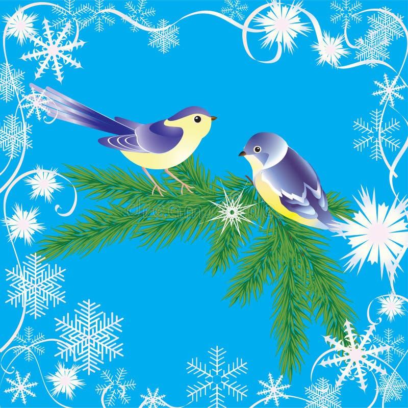 зима рамки птиц иллюстрация вектора
