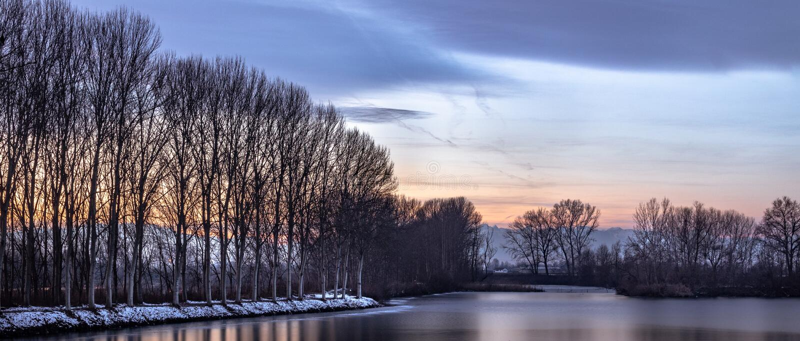 Зима Река По стоковое фото rf