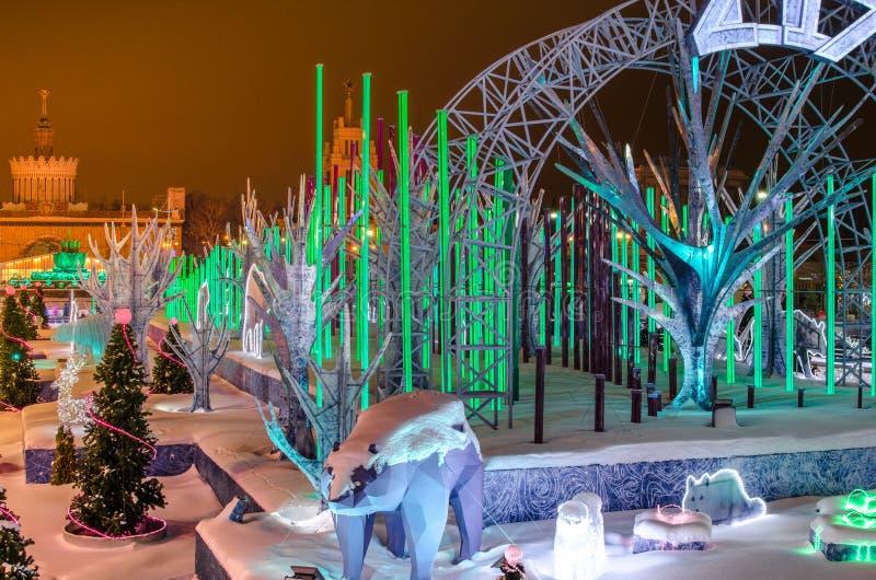 Зима, рождественская елка, рождество, ноча, в реальном маштабе времени стоковая фотография