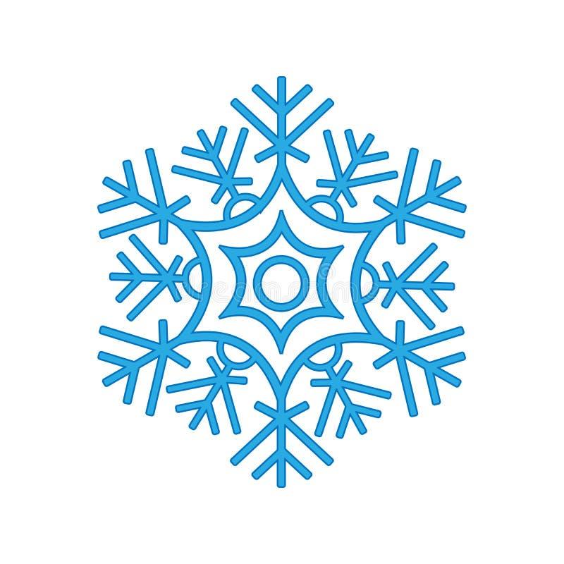 Зима снежинки изолированная на белой предпосылке Голубой силуэт значка иллюстрация вектора для дизайна рождества новый год знака  иллюстрация штока