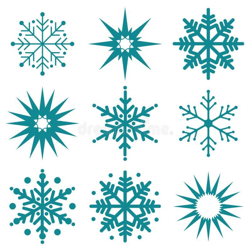 Зима снежинки установила черного изолированный стоковые изображения
