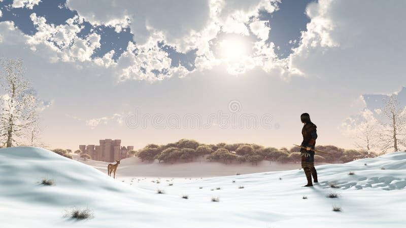 зима снежка охотника иллюстрация штока