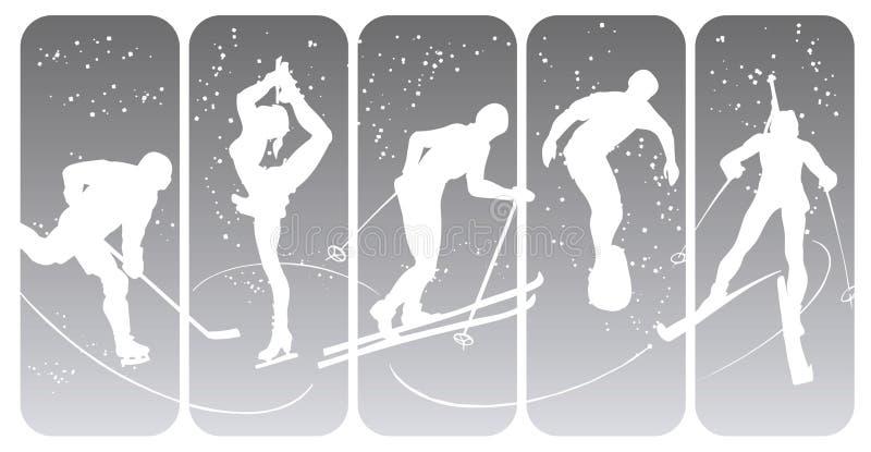 зима спорта силуэтов иллюстрация вектора