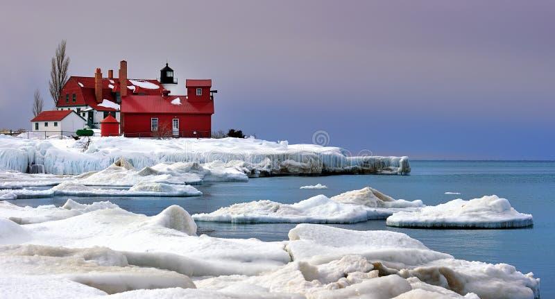 зима США пункта маяка betsie стоковые фото