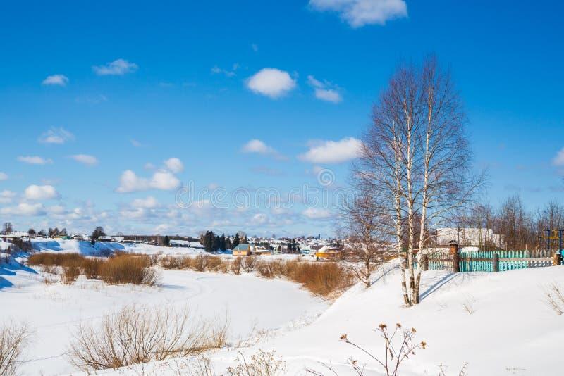 зима температуры России ландшафта 33c января ural Сельская местность Река сиротливого дерева замороженное день солнечный голубое  стоковое изображение