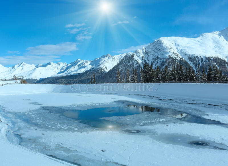 зима Украины горы ландшафта dragobrat Лыжный курорт Kappl, Австрия стоковое изображение