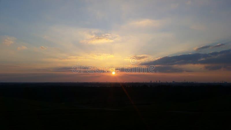 Зима Эйндховена захода солнца стоковые изображения rf