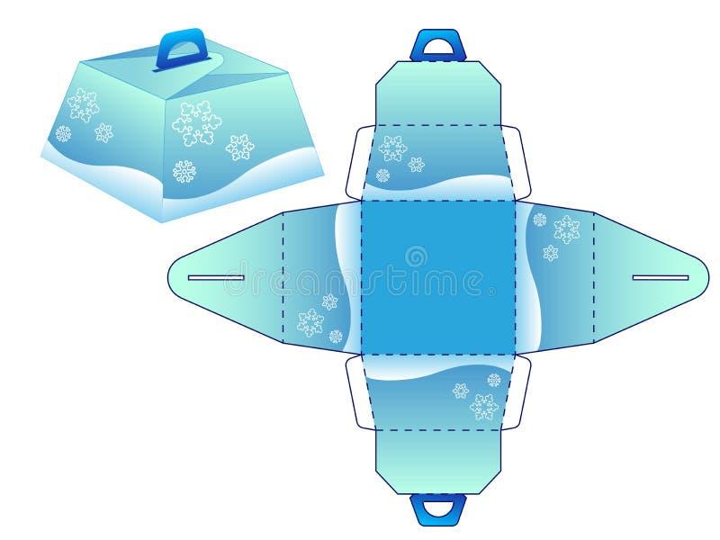 Зима bonbonniere коробки Шаблон для создания создания программы-оболочки подарка на зимние отдыхи - рождество и Новый Год иллюстрация штока
