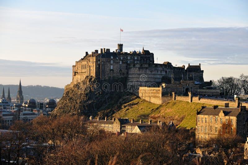 зима edinburgh светлая Шотландии замока стоковые изображения
