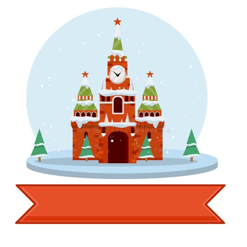 зима kremlin moscow Иллюстрация шаржа плоская иллюстрация вектора
