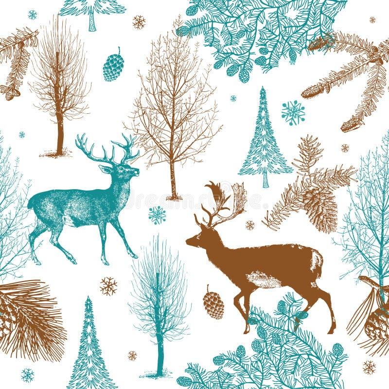 зима patt пущи deers рождества безшовная иллюстрация вектора
