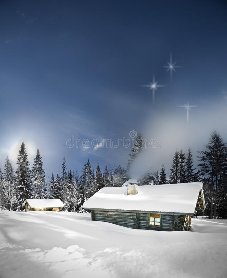 зима remote журнала кабины стоковые фото