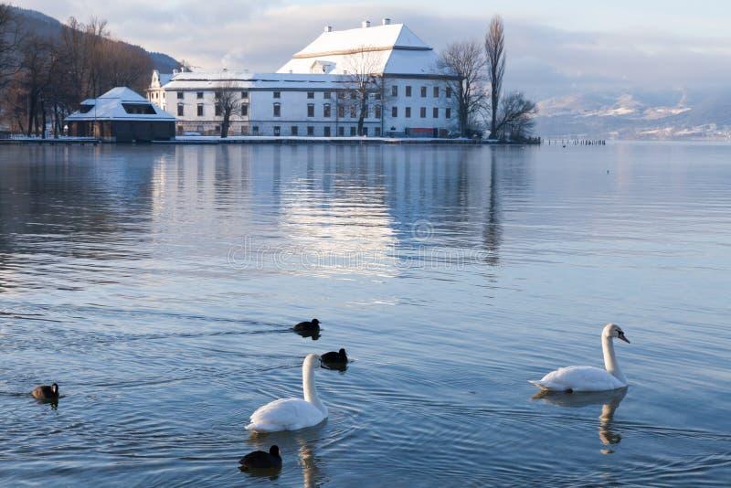Зима Schloss Kammer Attersee стоковое изображение
