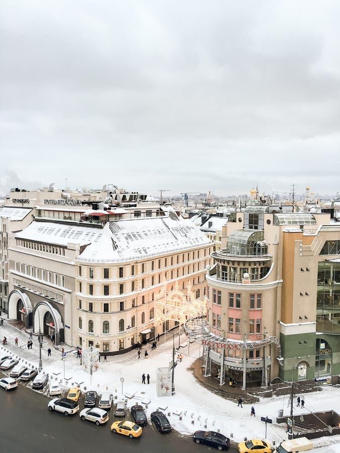 Зима Snowy над Москвой стоковое изображение rf