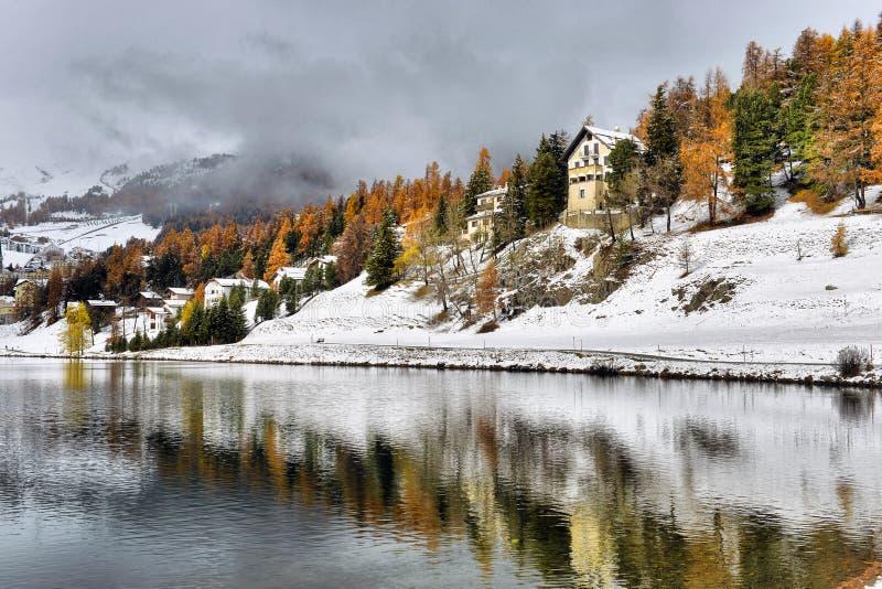 Зима St Moritz озера стоковые изображения rf